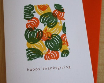 Gourds - Happy Thanksgiving - Thanksgiving Card - Gourds Fall Autumn Card - Hand Printed Greeting Card