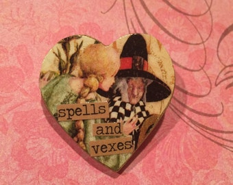 Witchy Collaged Heart Brooch /Pin