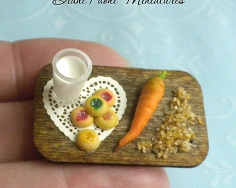Christmas Cookies Milk for Santa and Reindeer Food on a Tray - IGMA Diane Paone Dollhouse Miniature