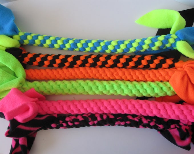 Fleece rope dog tug chew fetch toy Fluorescent Extra Large