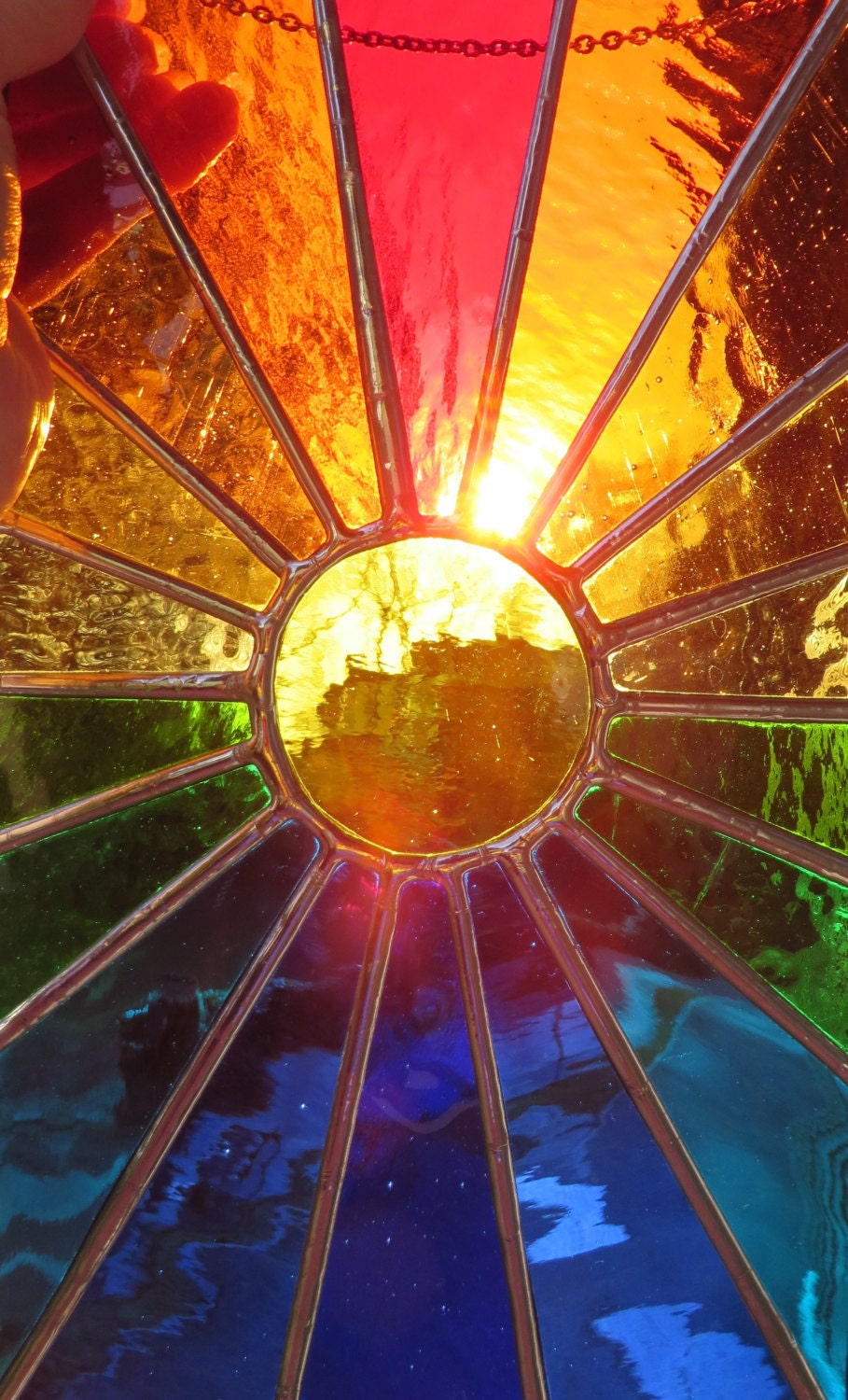 Sunburst stunning bright stained glass suncatcher panel for Projects with glass