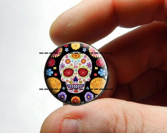 25mm 20mm 16mm 12mm 10mm or 8mm Glass Cabochon - Sugar Skull 1 - for Jewelry and Pendant Making