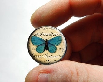 25mm 20mm 16mm 12mm 10mm or 8mm Glass Cabochon - Turquoise Butterfly - for Jewelry and Pendant Making