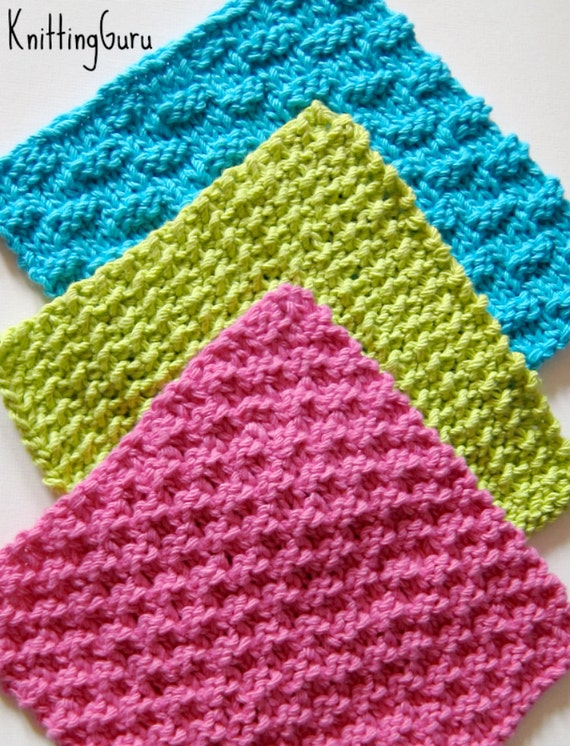 Simple Dishcloth Knitting Pattern : 6 Knit Dishcloth Patterns Tutorials E-book PDF by KnittingGuru