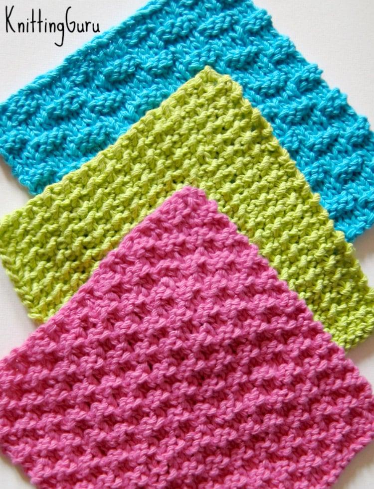 6 Knit Dishcloth Patterns Tutorials E-book PDF Fast Easy