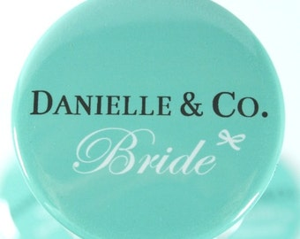 Bride and Co. aqua Blue Mirror Bridesmaids Gifts, Bachelorette Favors, Personalized Favors, Set of 10 Mirrors