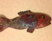 Raku fish wall hanging