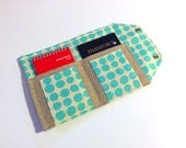 Passport Cover and case- The Mini In Touch Clutch for Moleskine Journals and Passports- Amy Butler Love Sky Blue Teal Dots