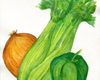 Celery, onion, bell pepper watercolor painting original, kitchen wall decor, Holy Trinity Cajun Cooking, vegetable wall art, kitchen decor