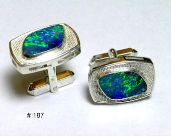 Australian opal cuff links in sterling silver.