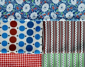 Katie Jump Rope, 5 Fat Quarters Fabric Bundle. Denyse Schmidt KJR Designer Cotton. 5 Total, shown in 1st image. More bundles available.