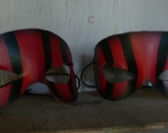 STRIPE MASK, Red and Black striped leather mask, vintage circus, leather masquerade mask