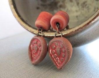 Ceramic Earrings, Copper Earrings, Lampwork Glass, Glass Earrings, Clay Earrings, Brick Red, Ceramic Leaves