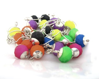 Super sale! Neon Bauble Earrings - Sterling Silver and Rubber