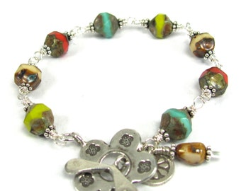 Indian Summer - Czech Glass, Hill Tribe, Sterling Silver Bracelet