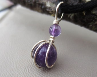 Tiny Amethyst Pendant, Little Amethyst Necklace February Birthstone Jewelry, Christmas Gift for Her Sterling Silver Wire Wrapped Jewelry