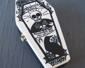 memento mori coffin box - remember that you will die - skeleton and raven - handpainted wood box - gothic jewelry box
