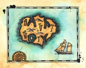 "Ahoy Island Treasure Map / 11"" x 14"" Archival Print / Alphabet Treasure Map / Sailing Ship Art / Pirate Art / Nautical Art / Gift for Sailor"