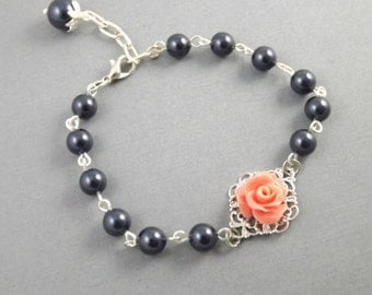 Navy Blue Coral Flower Silver Filigree Bridesmaids Bracelet