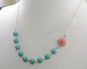 Coral Aqua and Silver Flower Bridesmaids Wedding Necklace