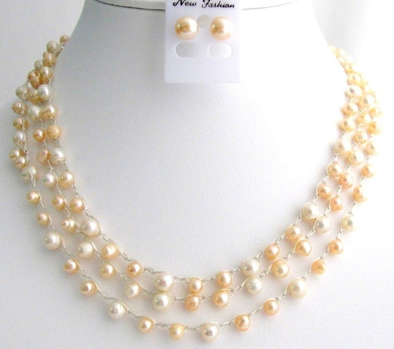 Peach Ivory Freshwater Pearls Necklace Stud Earrings  Peach Ivory Pearls Necklace 68 Inches Necklace Wedding Gift Christmas Gift