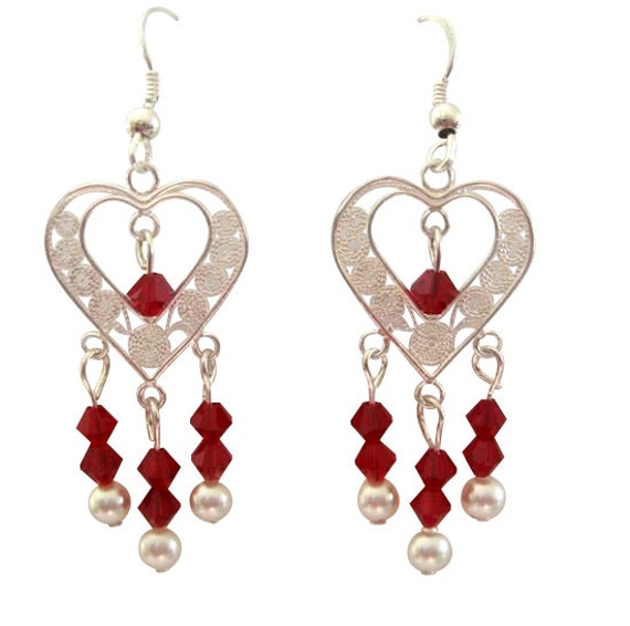 ERC281 Heart Silver Chandelier Siam Red Swarovski Crystals White Pearls Sterling SIlver Earrings (FREE SHIPPING)
