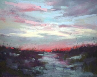 LowCountry Sunset Pink Cloud  18x24 Original Pastel Painting Orange,salmon,blue