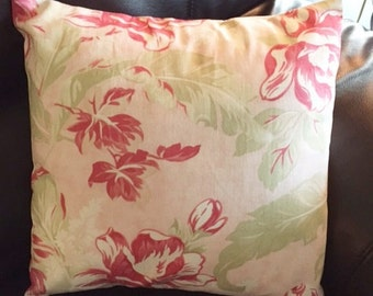 Throw Pillow Cover | Seaside Rose Cottage Chic fabric | Home Decor Accessory