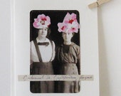 Greeting card, Two Women, collage, one of a kind, stitched, matching envelope