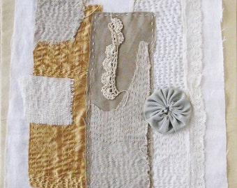 Textile art, small quilt, hand stitched, antique lace and fabric