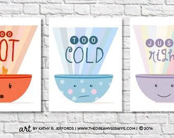 Funny Kitchen Art Set Of Three. Anthropomorphic Art Print. Funny Kitchen Wall Art Set. Goldielocks And The Three Bears Breakfast Nook Decor.