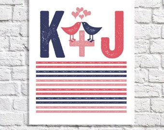 Navy & Coral Wedding Decor Lovebird Wedding Personalized Newlywed Gift 1st Anniversary Gift Girlfriend Idea Couple Bedroom Art Initial Print