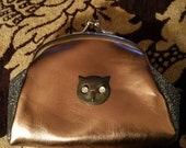 Bronze and Pewter Silver Glitter Coin Purse with Owl
