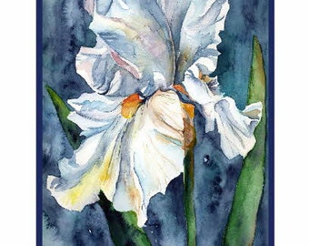 White Iris  Watercolor Notecards Note Cards, Iris Art, Iris Prints, Gift Box
