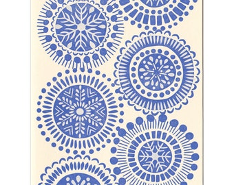 Blue Snowflakes letterpress greeting card - blank inside, single card