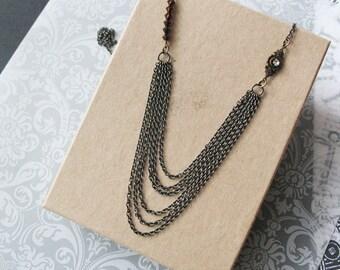 Women's Multi Chain Necklace Swarovski Statement Jewelry For Women Multi-Strand Chain Necklace