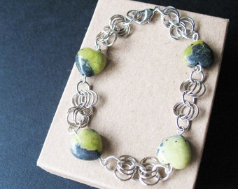 Chainmaille Bracelet Jewelry For Women Fossil Stone Bracelet Heart Shaped Beads