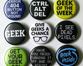 Computer Geek Badges Buttons Pinbacks x 9