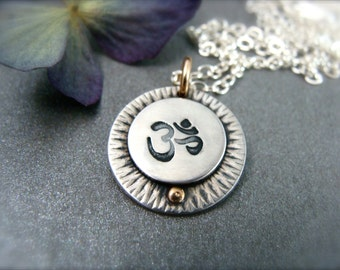 one with the universe … mixed metal pendant