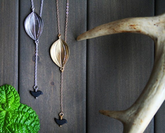 Yadira Necklace - leaf bird black gold silver short woodland nature minimal asymmetric everyday cute gift for her