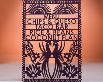 Mayan Quinceanera Menu, Laser Cut