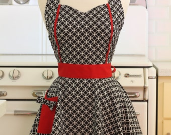 Retro Apron Black and White Deco Tiles with Red MAGGIE