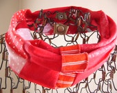 Eco Color Block Infinity Scarf - Upcycled Cotton Jersey Shirts - Red with Polka Dots, Stripes, White Print, and Red Stitching Accents