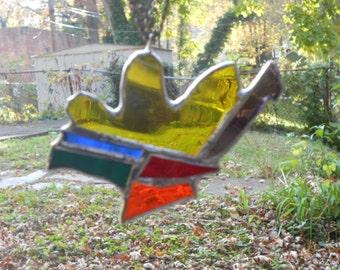Rainbow Snail (Abstract Rainbow Stained Glass Ornament)