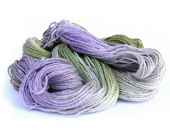 Double knitting yarn, hand dyed DK baby alpaca linen silk blend light worsted crochet yarn skein, Perran Yarns, Sweet Pea, purple green, uk