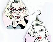 Lovely Soft Pink Marilyn Monroe - hand-painted earrings - Spring gift