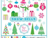 50% off SNOWBELLS Christmas clipart with snowman, ornaments, trees, snowflakes, presents. PNG and JPG Instant Download Lilly Bimble