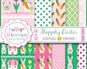 40% off Easter digital paper, rabbits, dressed, bunnies, carrots, polka dots, Instant Download, scrapbook, paper pack, lilly bimble