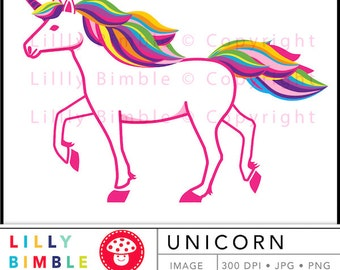 40% off UNICORN clipart image retro kitsch dance JPG and PNG Instant Download Lilly Bimble Digitals