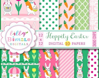 80% off Easter digital paper, rabbits, dressed, bunnies, carrots, polka dots, Instant Download, scrapbook, paper pack, lilly bimble